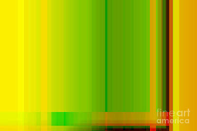 Lime Green Yellow Orange Lines Abstract Art Print