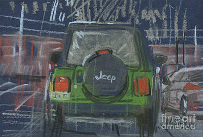 Jeep Drawing - Lime Jeep by Donald Maier