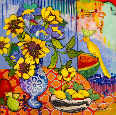 Watermelon Mixed Media - Lime Lemons And Yellow Bird by Sharon Furner