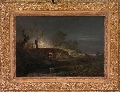 Lime Drawing - Limekiln At Coalbrookdale Lime Kilns By Night by Litz Collection