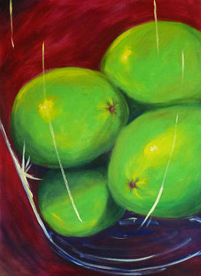 Lime Painting - Limes In A Vase by Nancy Merkle