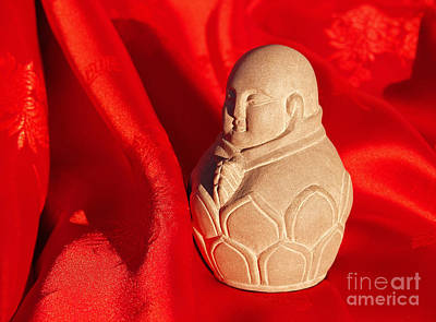 Hand Crafted Photograph - Limestone Buddha On Red Silk by Anna Lisa Yoder