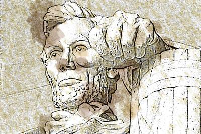 Lincoln Memorial Digital Art - Lincoln - 3463brown Water Sketch by David Lange
