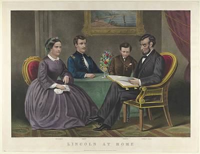 Lincoln At Home Art Print by After G. Thomas