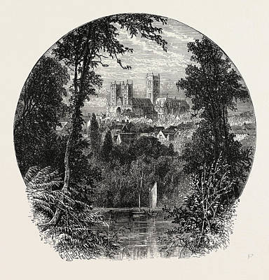 Lincoln Cathedral, From The South-west Art Print by English School