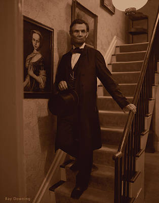 Abraham Lincoln Color Digital Art - Lincoln Descending Staircase by Ray Downing