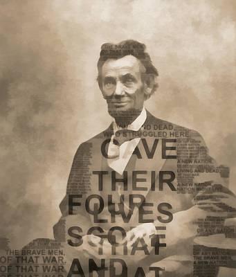 Politicians Digital Art - Lincoln Gettysburg Address Typography by Dan Sproul