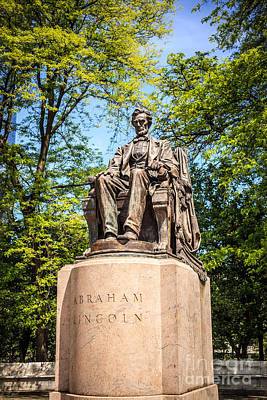 Lincoln Head Of State Statue In Chicago Art Print by Paul Velgos