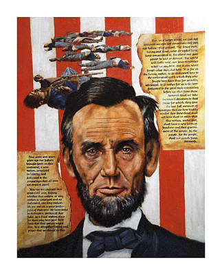 Gettysburg Address Painting - Lincoln by John Lautermilch