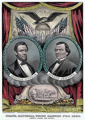 Abraham Lincoln Mixed Media - Lincoln Johnson Campaign Poster by Marvin Blaine