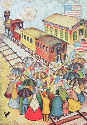 Lincoln Leaving Springfield, Illinois By Train Pastel On Paper Art Print by American School