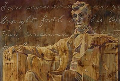 Gettysburg Address Painting - Lincoln Memorial by Barbara Scheihing