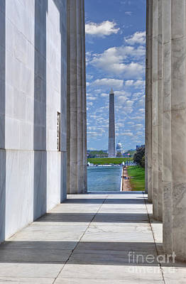 Photograph - Lincoln Memorial Columns Framing The Reflecting Pond  Washington Monument by David Zanzinger