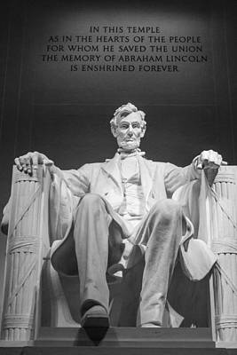 Photograph - Lincoln Memorial In Black And White 2 by John McGraw