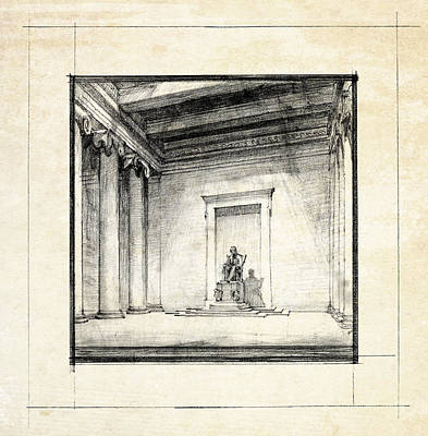 Lincoln Memorial Sketch IIi Art Print by Gary Bodnar