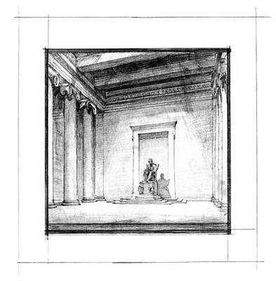 Abraham Lincoln Drawing - Lincoln Memorial Sketch IIi by Gary Bodnar