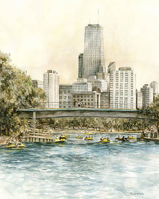 Painting - Lincoln Park Chicago Paddleboats by Paula Nathan