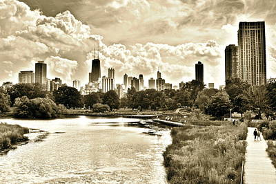 Black Commerce Photograph - Lincoln Park View Sepia by Frozen in Time Fine Art Photography