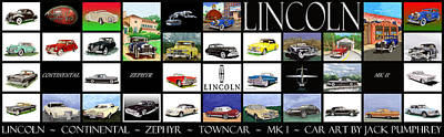 Low Rider Painting - Poster Of Lincoln Cars by Jack Pumphrey