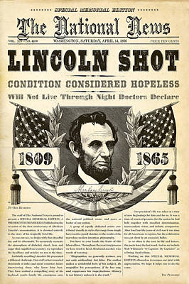 Historical Digital Art - Lincoln Shot by Gary Grayson