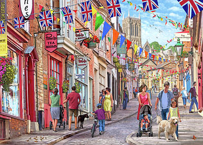 Hanging Baskets Painting - Lincoln Steep Hill by Steve Crisp