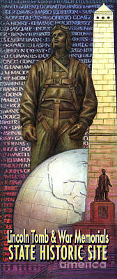 Painting - Lincoln Tomb And War Memorials Street Banners Korean War Pilot by Jane Bucci