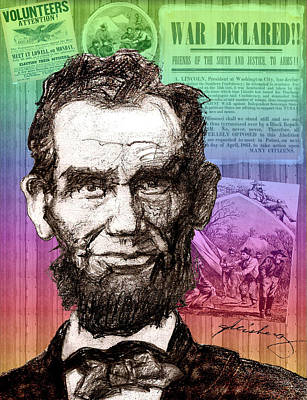 Graphic Digital Art Drawing - Lincoln's Billboard Of History by Dean Gleisberg
