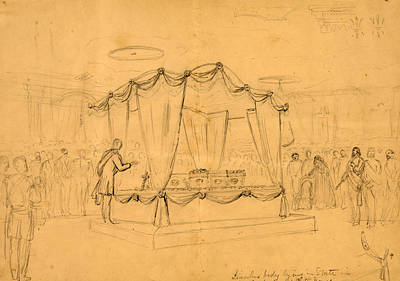 Lincolns Body Lying In State In The East Room White House Art Print
