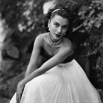 Linda Christian Wearing A Ball Gown Art Print by Clifford Coffin