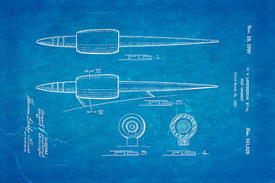 Lindbergh Photograph - Lindbergh Hood Ornament Patent Art 1950 Blueprint by Ian Monk