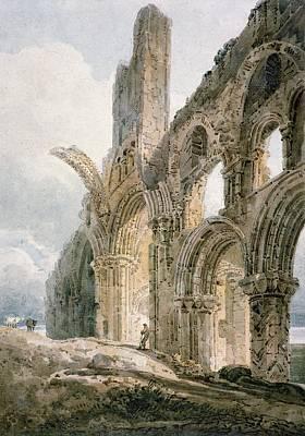 Haunted Drawing - Lindisfarne Abbey by Thomas Girtin