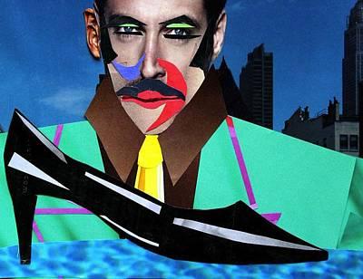 Black Tie Mixed Media - Lindner's Shoe by Diane Cassone