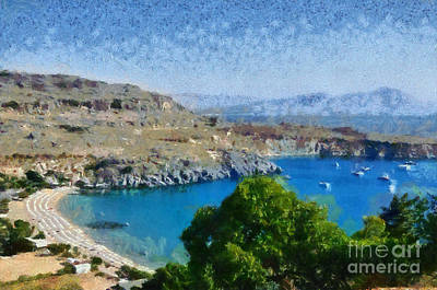 Painting - Lindos Beach by George Atsametakis