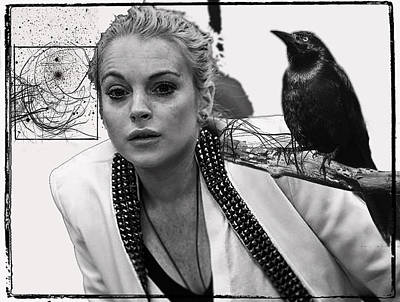 Beverly Hills Mixed Media - Lindsay Lohan With Raven by Patrick Garner