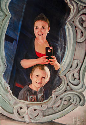 Painting - Lindsey And Braxton Selfie Portrait by Ron Richard Baviello
