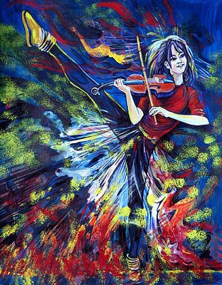 Lindsey Stirling. Dancing Violinist Art Print by Anna  Duyunova