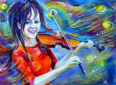 Lindsey Stirling Magic Art Print by Anna  Duyunova
