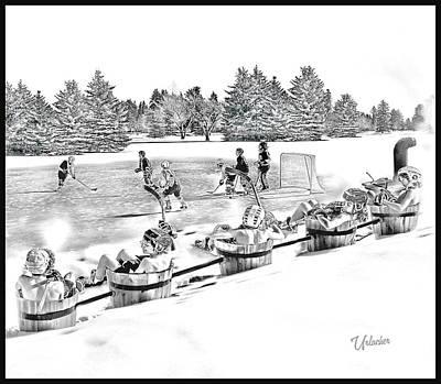 Youth Hockey Digital Art - Line Change by Elizabeth Urlacher