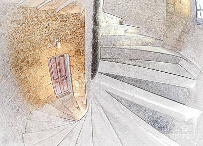 Line Conversion Of A Spiral Staircase Print by Gregory G. Dimijian, M.D.