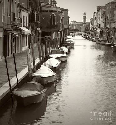 Photograph - Line Of Boats In Sepia by Prints of Italy
