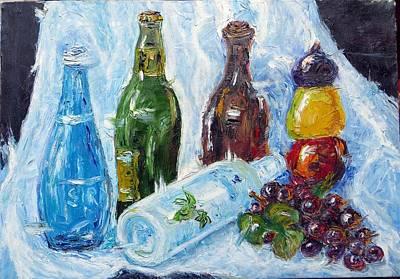 Naturmort Painting - Line Of Bottles by Kazim C