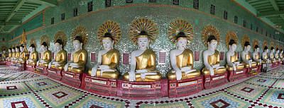 Line Of Buddhas At Umin Thounzeh Temple Art Print by Panoramic Images