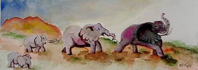 Poacher Painting - Line Of Elephants II by Lil Taylor
