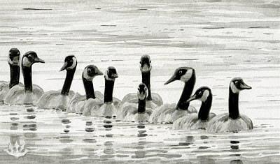 Line Of Geese Art Print