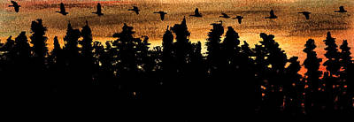 Canadian Geese Mixed Media - Line Over The Treetops by R Kyllo