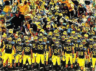 University Of Michigan Painting - Line Up by John Farr