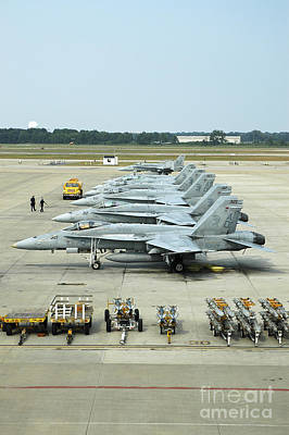 Foreign Military Photograph - Line-up Of Fa-18 Hornets On The Ramp by Riccardo Niccoli