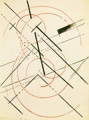Constructivist Drawing - Linear Composition by Lyubov Sergeevna Popova