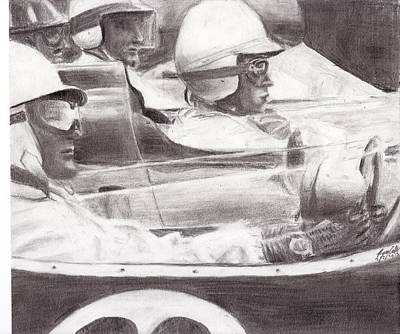 Stirling Moss Drawing - Lined Up For The Start by Ryan Casillas
