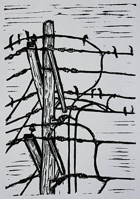 Drawing - Lines And Birds by William Cauthern